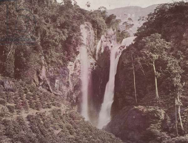 The Twin Falls (Coffee Growing in Foreground), Ceylon (coloured photo)