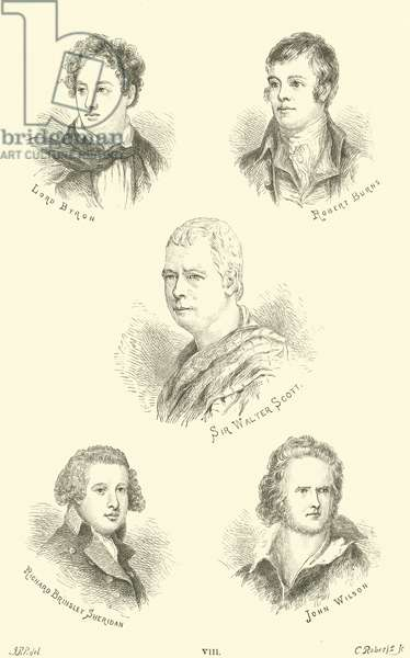 Lord Byron, Robert Burns, Sir Walter Scott, Richard Brinsley Sheridan, John Wilson (engraving)