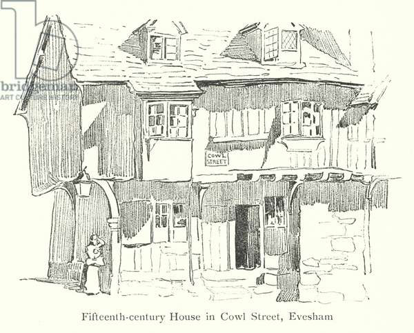 Fifteenth-century House in Cowl Street, Evesham (litho)