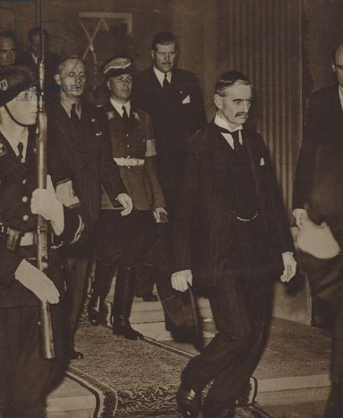 British Prime Minister Neville Chamberlain after talks with Adolf Hitler on the future of the Sudetenland ended in deadlock, 1938 (b/w photo)