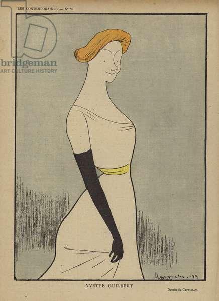 Yvette Guilbert, Illustration for Le Rire (colour litho)