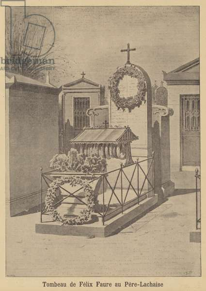 Tomb of President Felix Faure in the Pere Lachaise Cemetery, Paris (litho)