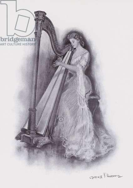 Woman playing a harp (colour litho)