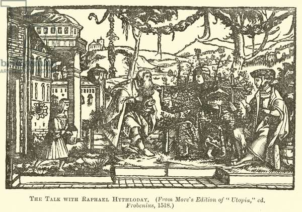 The talk with Raphael Hythloday (engraving)