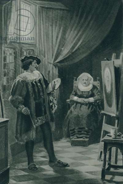 Rembrandt painting his mother (litho)