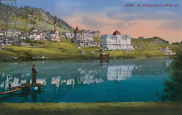 St. Moritz-Dorf. Postcard sent in 1913.