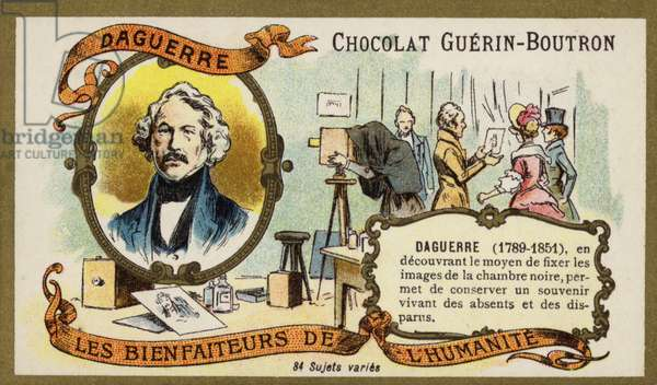 Louis Daguerre, French photography pioneer (chromolitho)