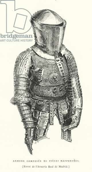 Armour from the Royal Armoury of Madrd, Spain (engraving)