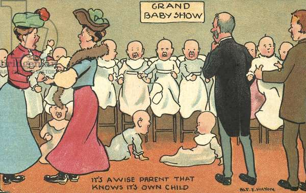 Parents struggling to tell their babies apart at a baby show (chromolitho)