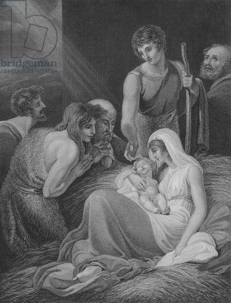 The Adoration of the Shepherds, St Luke 2, Verse 15-21 (engraving)