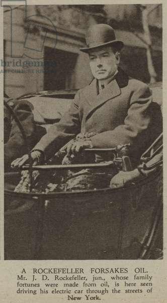 A Rockefeller Forsakes Oil (b/w photo)