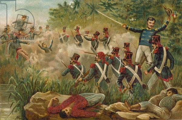 Simon Bolivar's army fighting the Spanish on the Magdalena River, Colombia (chromolitho)
