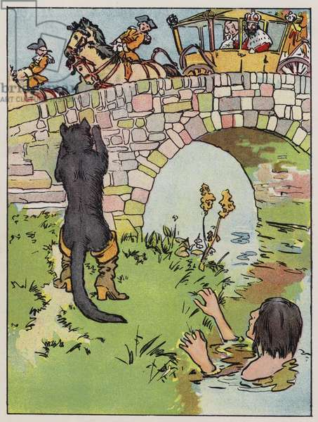 Puss began to shout as the royal coach came past (colour litho)