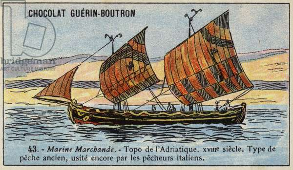 Topo, fishing boat used in the Adriatic, 18th Century (chromolitho)