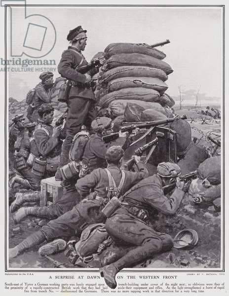A surprise at dawn on the Western Front (litho)