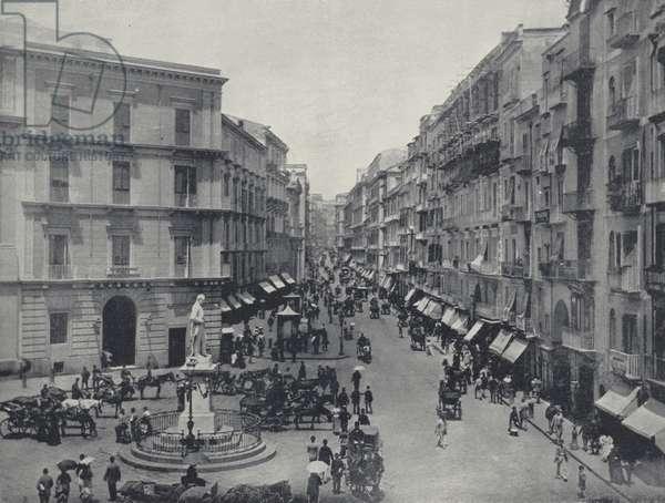 Toledo Street, Naples, Italy (b/w photo)