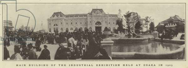 Main building of the industrial exhibition held at Osaka in 1903 (b/w photo)