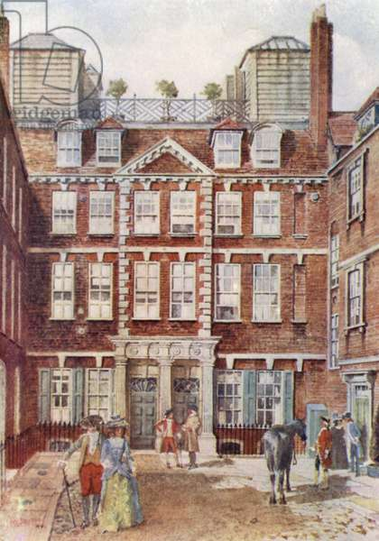 Old Beaufort House, site of the principal entrance of the Savoy Hotel (colour litho)