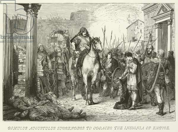 Romulus Augustulus surrenders to Odoacer the Insignia of Empire (engraving)