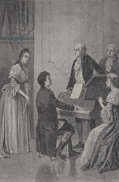 Wolfgang Amadeus Mozart listening to Ludwig van Beethoven playing the piano (engraving)