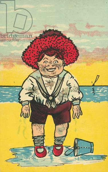 Boy with a bucket on the beach (colour litho)