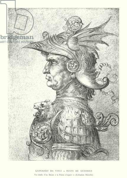 Leonardo da Vinci, Buste de Guerrier, Fac-simile d'un Dessin a la Pointe d'argent, Collection Malcolm (engraving)