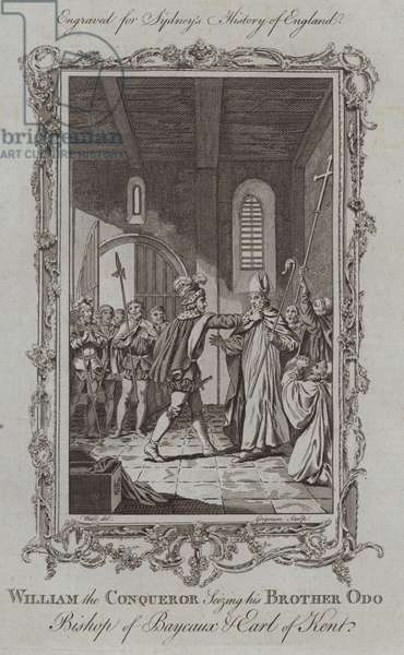 William the Conqueror Seizing his Brother Odo Bishop of Bayeux and Earl of Kent (engraving)