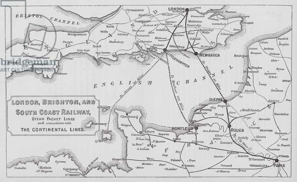 London, Brighton, and South Coast Railway, Steam Packet Lines and connections with the Continental Lines (engraving)