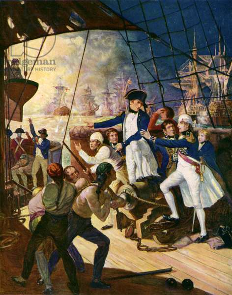 Nelson at the Battle of the Nile (colour litho)