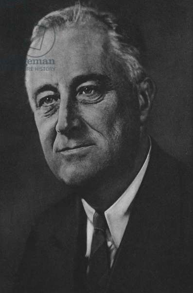 Franklin Delano Roosevelt, Late President of the USA, Died 12 April 1945 (b/w photo)