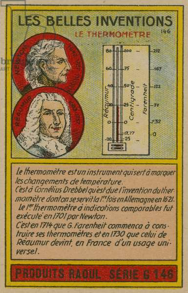 Beautiful inventions card, thermometer (chromolitho)