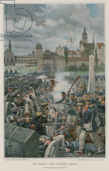 The French Army leaving Leipsic (colour litho)