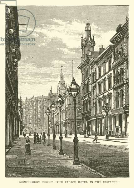 Montgomery Street, the Palace Hotel in the distance (engraving)