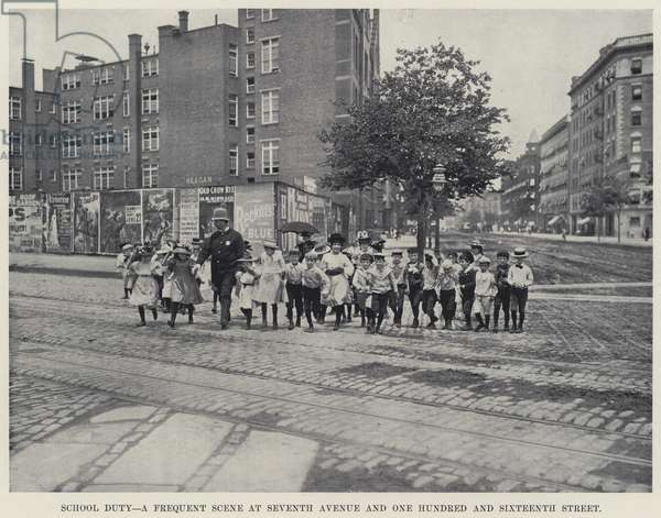 School Duty, a Frequent Scene at Seventh Avenue and One Hundred and Sixteenth Street (b/w photo)