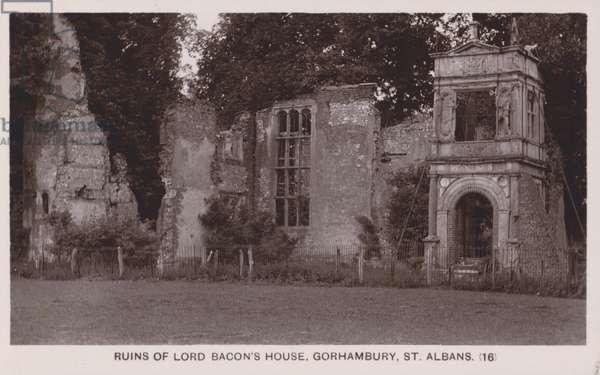 Ruins of Lord Bacon's house, Gorhambury, St Albans, Hertfordshire (b/w photo)