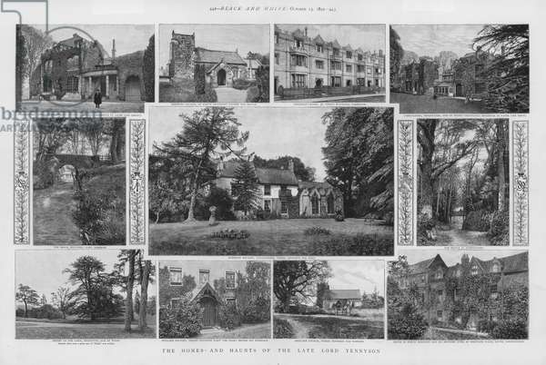 Homes and haunts of English Poet Laureate Alfred, Lord Tennyson (litho)