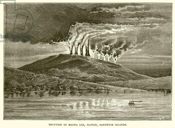 Eruption of Mauna Loa, Hawaii, Sandwich Islands (engraving)