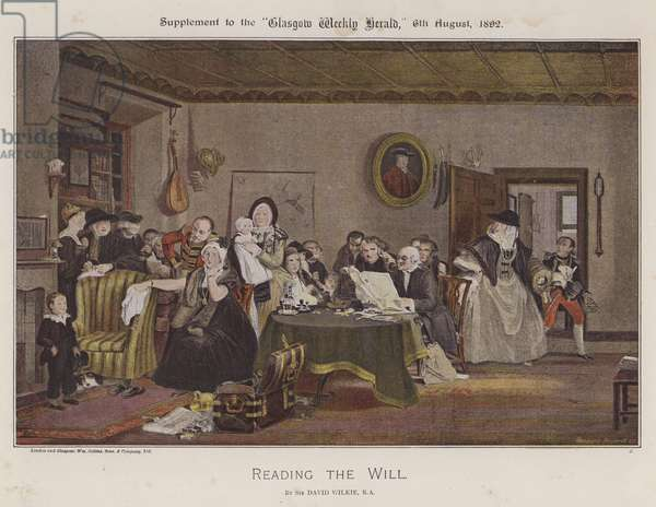 Reading The Will (colour litho)