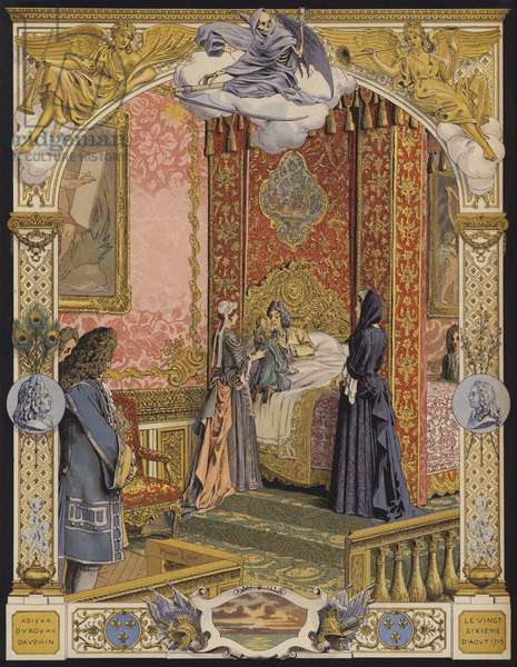 The dying King Louis XIV embracing the young Louis XV for the last time (colour litho)