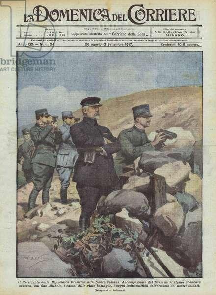 Il Presidente della Repubblica Francese alla fronte italiana (colour litho)