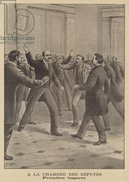 First fight in the new French Chamber of Deputies (litho)
