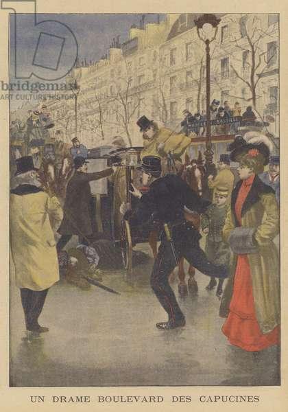 A murder on the Boulevard des Capucines, Paris (colour litho)
