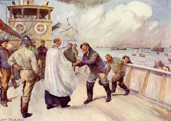 Fishermen of the North Sea fishing fleet assembling for worship (colour litho)