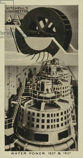 Wonderful Century, 1837-1937: Water Power, Poncelet's Waterwheel, Waterwheel Alternators (litho)