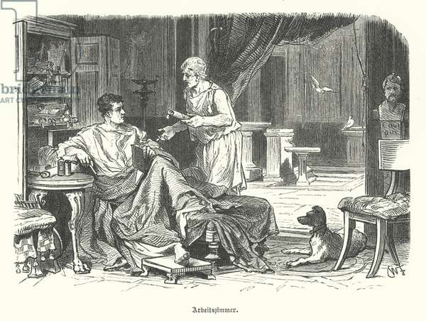 Study in a Roman house (engraving)