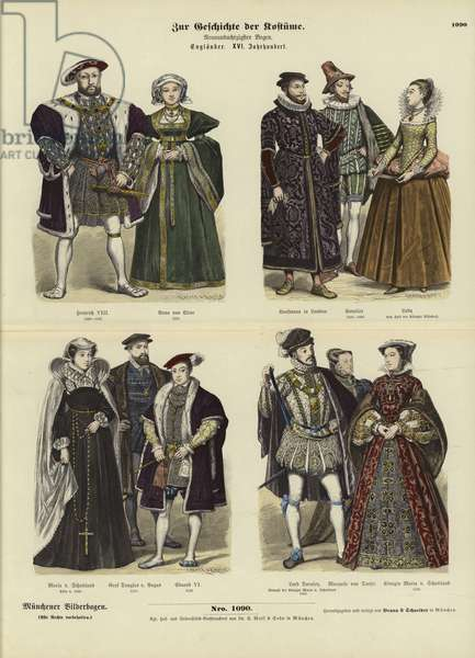 Costumes of English and Scottish royalty and nobility, 16th Century (coloured engraving)