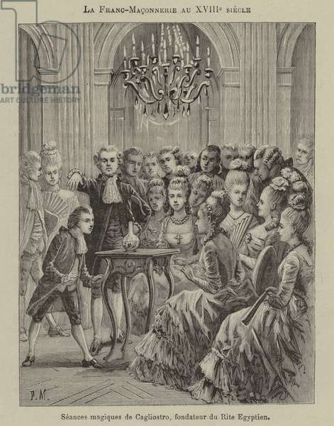 Freemasonry in the 18th Century: magic seance conducted by Aleesandro Cagliostro, founder of the Egyptian Rite (engraving)