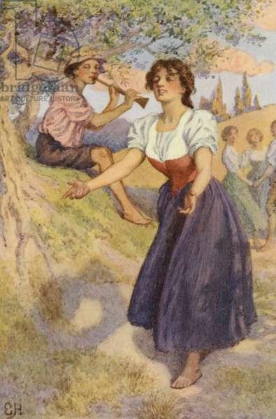 Illustration for A Sentimental Journey by Laurence Sterne (colour litho)