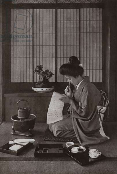 Writing a Letter (b/w photo)