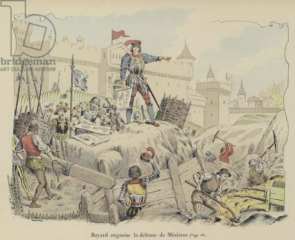 The Chevalier de Bayard organising the French defences at the Siege of Mezieres, France, 1521 (colour litho)